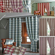 LINED CHECKED READY MADE CURTAINS RING TOP EYELET - HEATHER/RED/DUCK EGG/CARAMEL