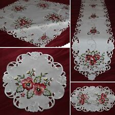 Pink Pansy Doily Table runner Tablecloth Cream-White/Ivory Flower Embroirdery