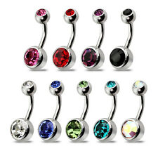 """Surgical Steel Belly Navel Ring Piercing Double Stone Barbell  5/16"""" Length-1pc"""