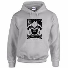 Chopping Wood Lumberjack Skull Hipster Retro Vintage Tattoo Beard Mens Hoodie