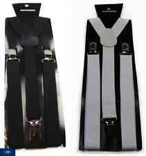 BLACK WHITE SUSPENDERS BRACES ELASTIC MEN'S ADJUSTABLE WEDDING CLIP 85CMS MENS
