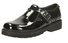 SLAE GIRLS CLARKS PURLEY GO JNR BLACK PATENT LEATHER BUCKLE FASTEN SCHOOL SHOES