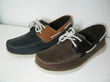 Mens Clarks Redruth Deck Dark Brown Or Navy Nubuck Leather Lace Up Boat Shoes