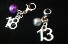 Silver Plated AGE Charm & Pearl bead Clip on clasp or bail for snake bracelets