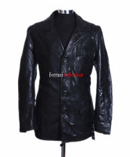 Freddie Black Men's Classic Styled Smart Real Sheep Leather Blazer Jacket