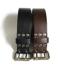 """1 3/4"""" Wide Leather Belt 2 Prong Buckle, Black or Brown Casual Handmade in USA"""