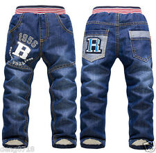 Boys Girls Winter Pants Warm Thick Fleece Trousers Children Jeans Kids Clothing