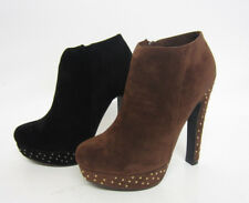 Ladies Spot On Studded Ankle Boot Shoe Black or Brown F50039 3x8 R22