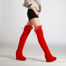 Women Furry Trim Over Knee High Boots High Wedge Heel Tassel Snow Boots Shoes
