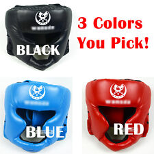 Training Helmet Headgear Head Guard Kick Boxing Protection Gear Black/Red/Blue