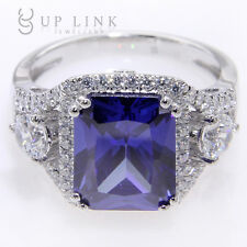 Fashion Emerald Cut Tanzanite Cubic Zirconia & White Topaz Sterling Silver Ring