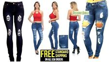 K4 Junior WOMENS BLUE Denim Stretch JEANS Destroy Skinny Ripped Distressed Pants