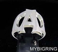 STERLING SILVER MEN'S INITIAL RING ONE 1 BOLD CAPITAL BLOCK LETTER A ANY SIZE