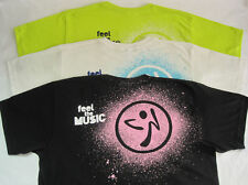 Zumba Feel The Music Unisex Tee Shirts T Shirt - One Size - White, Green - NWOT