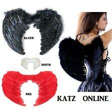 Fancy Dress Angel Fairy Wings Costume Real Feather Wings Outfit Halloween Party