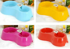 Pet Dog Automatic Water Dispenser Food Drinking Dish Double Bowl Bottle Feeder