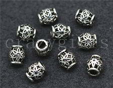 15/60/300pcs Tibetan Silver Cylinder Flower Spacer beads Charms Jewelry 6x5mm