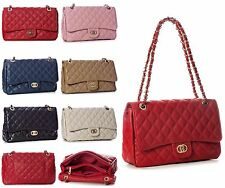 NEW Ladies Women Shoulder Quilted Handbag Gold Chain Faux Leather Cross Body Bag
