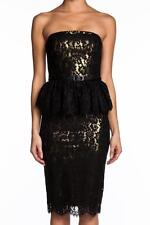 Robert Rodriguez Strapless Lace Dress GOLD Black Peplum