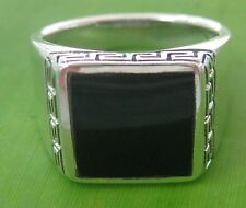 925 sterling silver Ring big size 7 to 15 (O to Z+6) SQUARE BLACK ONYX MEN Ring
