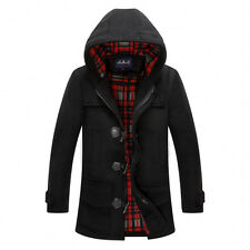 Mens Fashion Casual woolen Coat Hooded Duffel Peacoat Jacket Man Toggle Trench