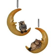 Home & Garden - 15cm HANGING OWL IN MOON - Figurine Garden Hanging Ornament