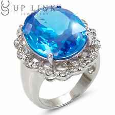 Huge Sea Blue Cubic Zirconia Sterling Silver White Gold Plated Women Ring Sz 6 7