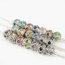 Rhinestone Crystal Antique Silver Plated Charms Beads Fit European Bracelets 5PC