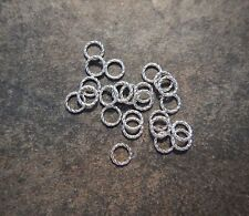 Twist Rope Jump Rings Closed Connectors Atq Silver Tone 8 mm Ships Free  USA