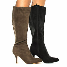 Voss Pointy Toe Knee High Zip Up Stiletto Heel Boots