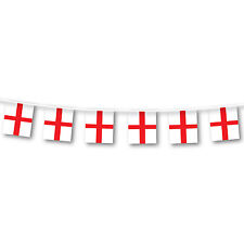 St George's Cross / England One-Sided Plastic Flag Bunting - 10 meters
