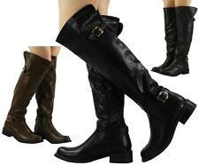 NEW WOMENS LADIES BUCKLE LOW HEEL KNEE HIGH RIDING FAUX LEATHER BOOTS SHOES SIZE