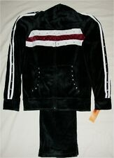 Ladies/Girl's Black Velour Embellished Hoodie Jogger/Sweat Set/Track Suit (NWT)