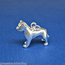 PIT BULL DOG 3D Solid Sterling Silver Charm - Pendant w/ Options #2067