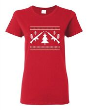 Ladies Guns Ugly Christmas Snow Rifle Tree Grenade Funny Humor DT T-Shirt Tee