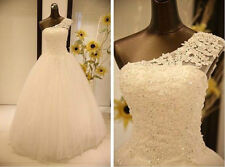 New stock White/Ivory lace Wedding Dress Bridal Gown Ball Size 6 8 10 12 14 16
