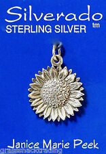 SUNFLOWER Solid Sterling Silver Pendant Charm w/Options #1931