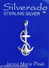 ANCHOR W/ ROPE SORORITY Solid Sterling Silver Pendant -  Charm w/ Options #1883