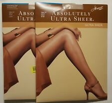 2-PAIR HANES ABSOLUTELY ULTRA SHEER CONTROL TOP SANDALFOOT PANTYHOSE SZ:C,D,E,F