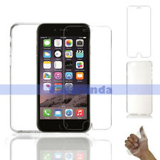 Tempered Glass Screen Protector + Back Soft Gel Case For iPhone 6s 6 Plus 5.5""