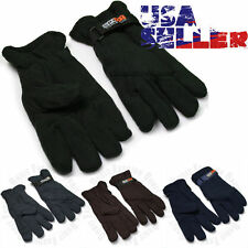 Mens Fleece Gloves Winter Warm Snow Insulated Thermal Mitten Velcro One Size Ski