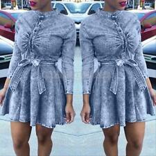Plus Size Long Sleeve Sexy Womens Bodycon Denim Club Party Mini Dress Belted
