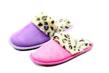 Ladies open back slippers with fluffy leopard print inner and band
