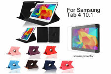 "For Samsung Galaxy Tab 4 10.1"" Screen Protector/ Black PU Leather Case Cover"
