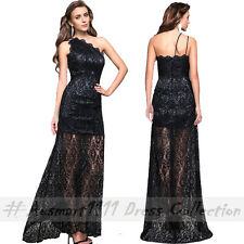 Formal Evening Wedding Party Long Gown Sexy One Shoulder Black Lace Maxi Dress