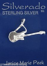 ELECTRIC GUITAR Solid Sterling Silver Pendant - Charm w/ Options # 2094