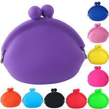 Silicone Round Coin Purses Wallet Card Rubber Key Phone Candy Color Bag Case