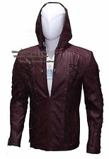 Arrow Roy Harper Season 3 Arsenal Cos-play Hooded Leather Jacket