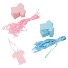 100 Pink/Blue Paper Card Gift Tags Baby Shower Clothes Shape Blank Tags w.Ribbon