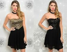 WOMENS LADIES SEXY BLACK SWEETHEART SEQUIN BODICE CHIFFON PARTY DRESS 8 10 12
